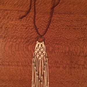 Handmade macrame necklace.