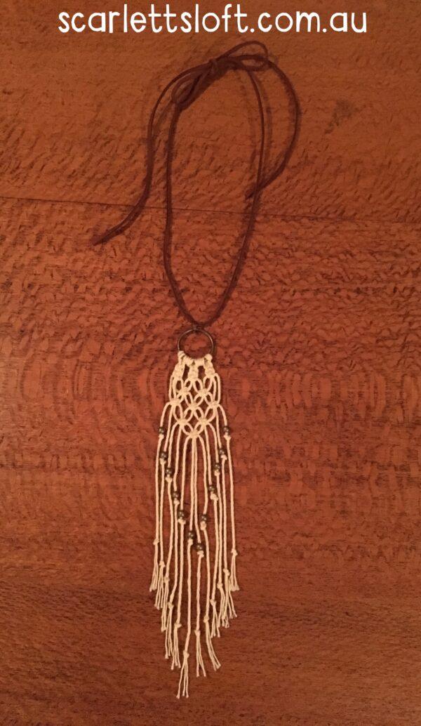 Handmade macrame necklace.