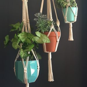 Trilogy of macrame hangers. Handmade in Australia.