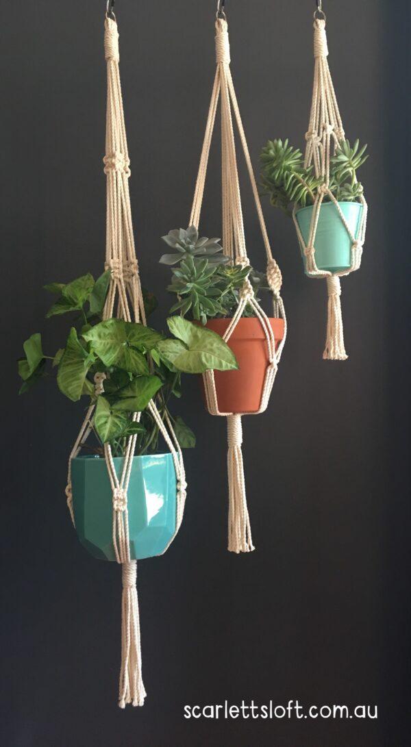 Trilogy of macrame hangers. Handmade in Australia.