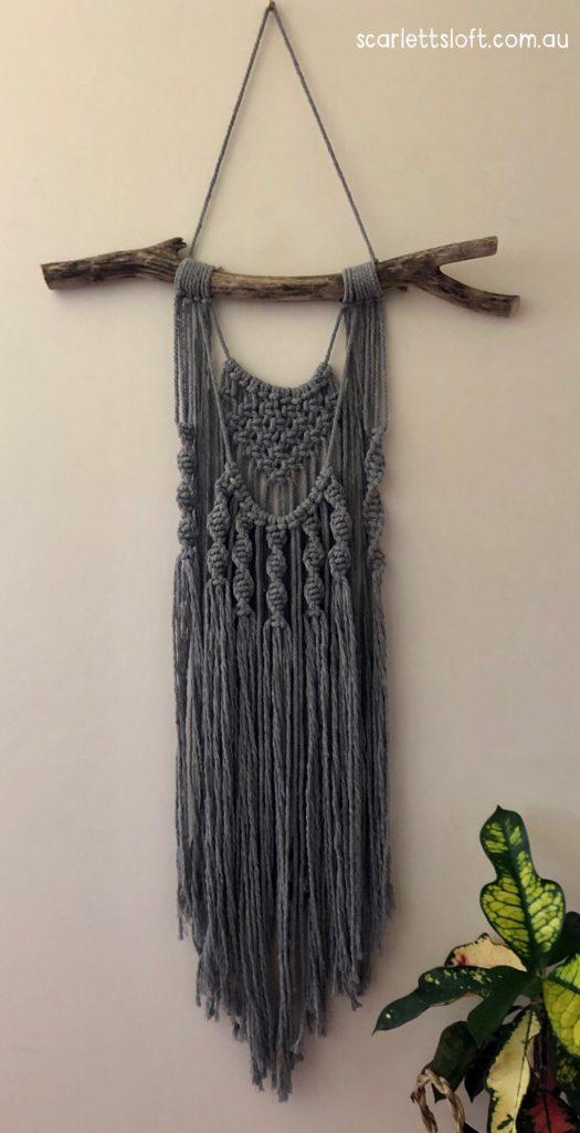 Scandi Style Cotton Macrame Hanger Handmade In Australia